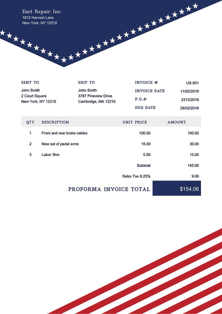 Proforma Invoice Template Us Us Liberty