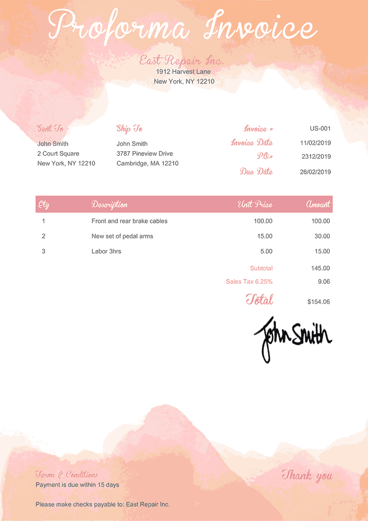 Proforma Invoice Template Us Watercolor Pink