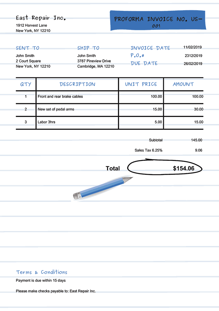 Proforma Invoice Template Us Workbook Blue No Logo