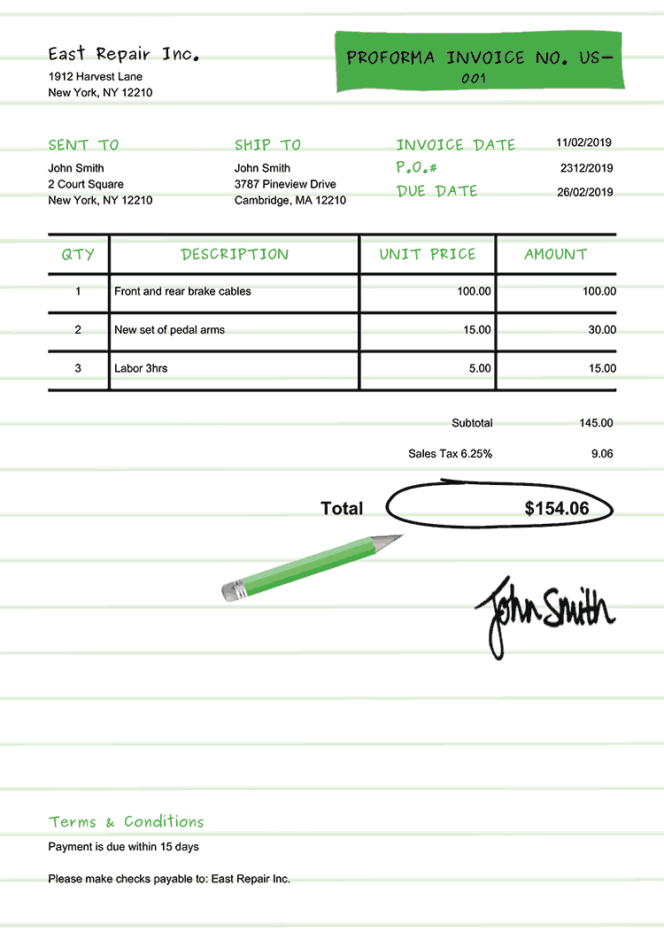 Proforma Invoice Template Us Workbook Green