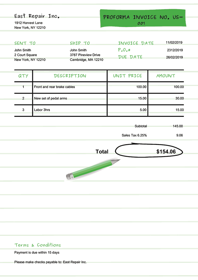 Proforma Invoice Template Us Workbook Green No Logo