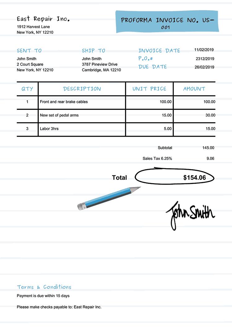Proforma Invoice Template Us Workbook Light Blue
