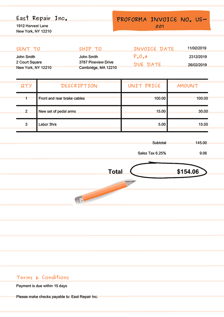 Proforma Invoice Template Us Workbook Orange No Logo