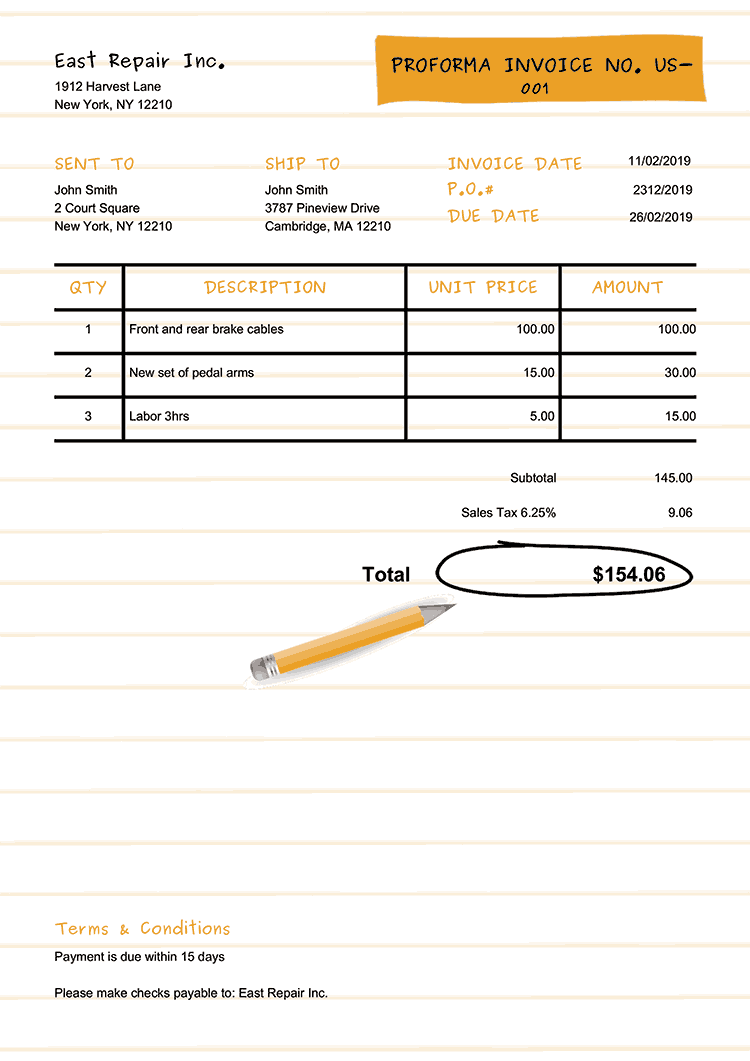 Proforma Invoice Template Us Workbook Yellow No Logo