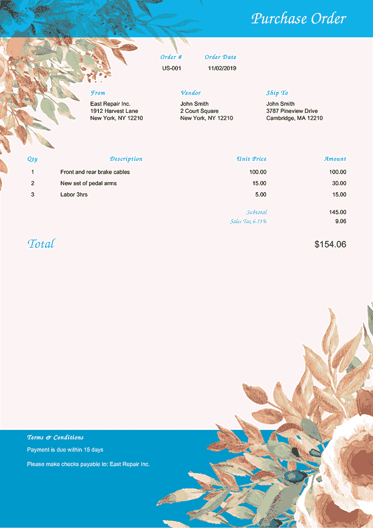 Purchase Order Template Us Blooming Blue No Logo