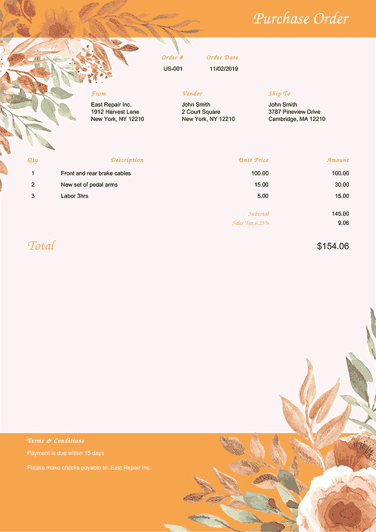 Purchase Order Template Us Blooming Orange No Logo