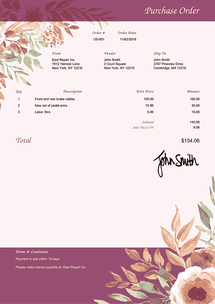 Purchase Order Template Us Blooming Plum