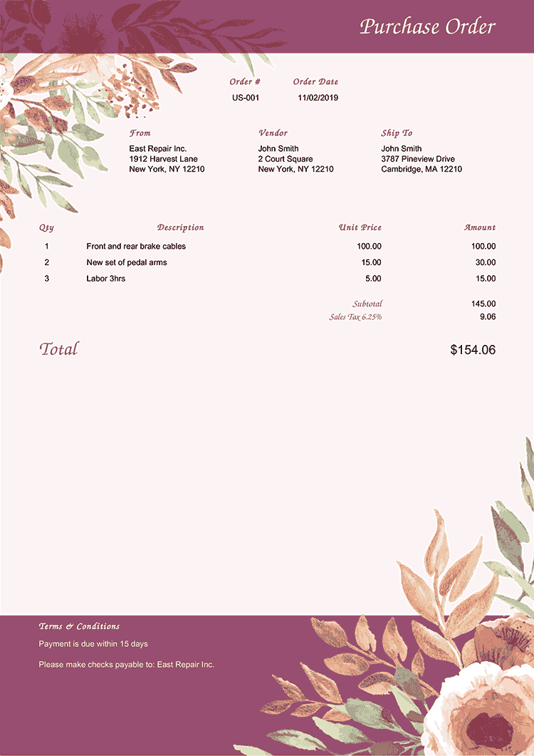 Purchase Order Template Us Blooming Plum No Logo