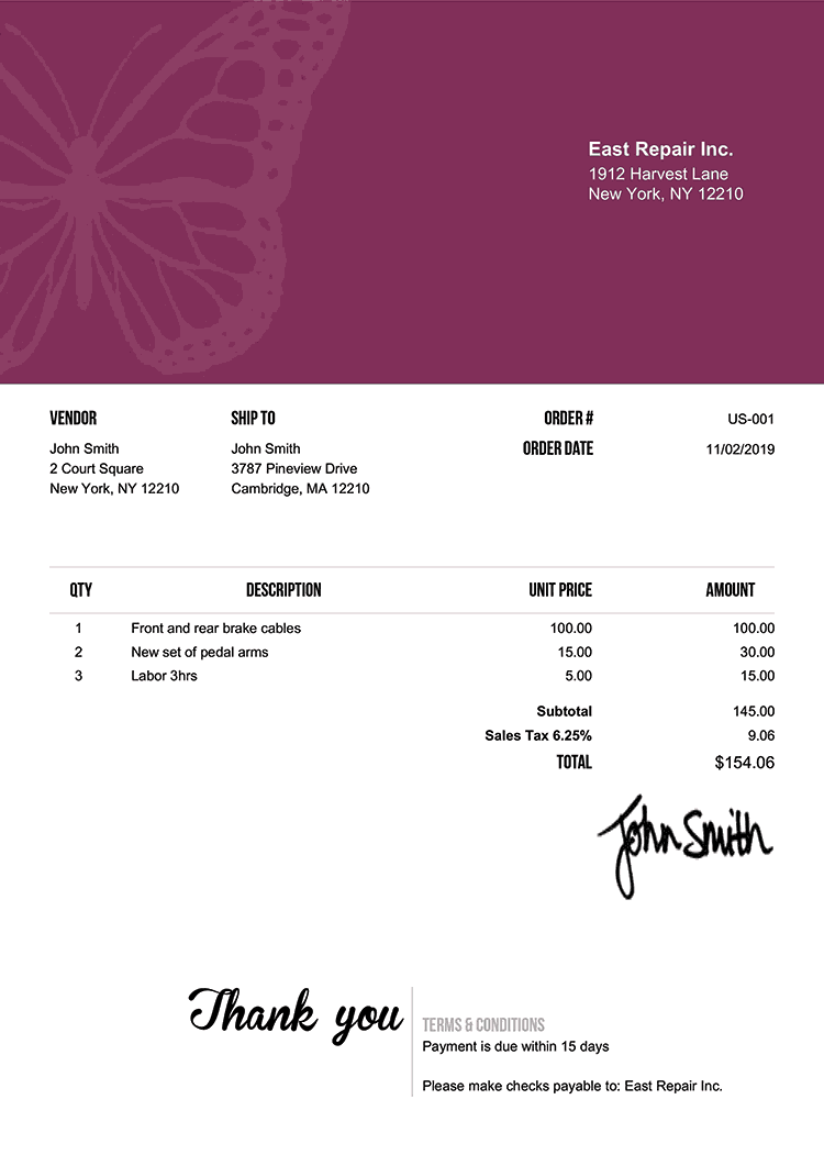 Purchase Order Template Us Butterfly Purple