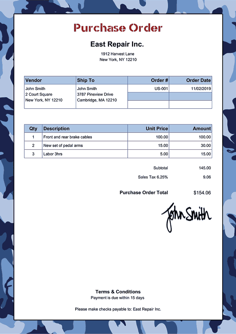 Purchase Order Template Us Camo Blue