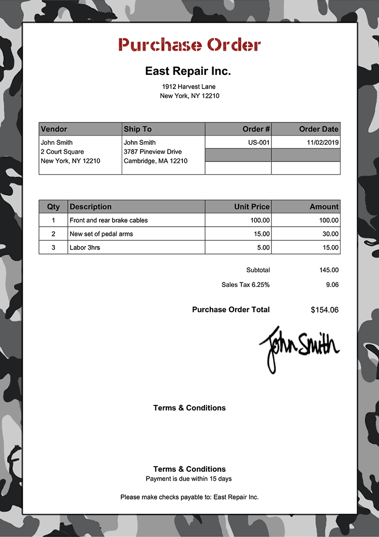 Purchase Order Template Us Camo Gray