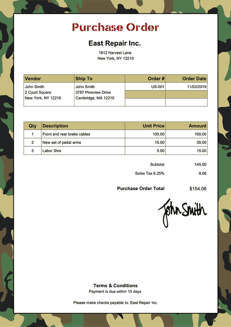 Purchase Order Template Us Camo Green