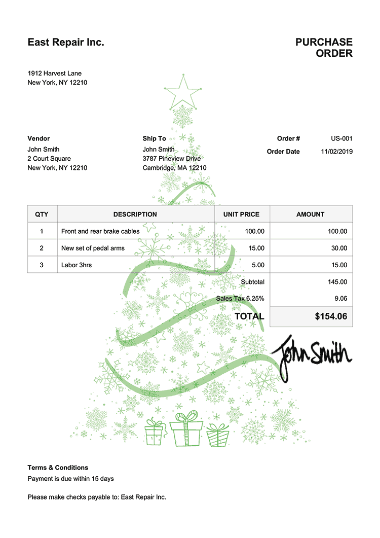 Purchase Order Template Us Christmas Tree Green