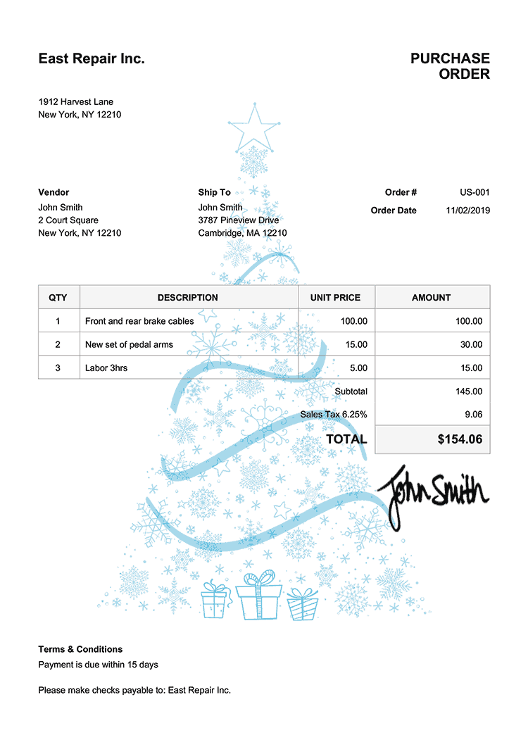 Purchase Order Template Us Christmas Tree Light Blue