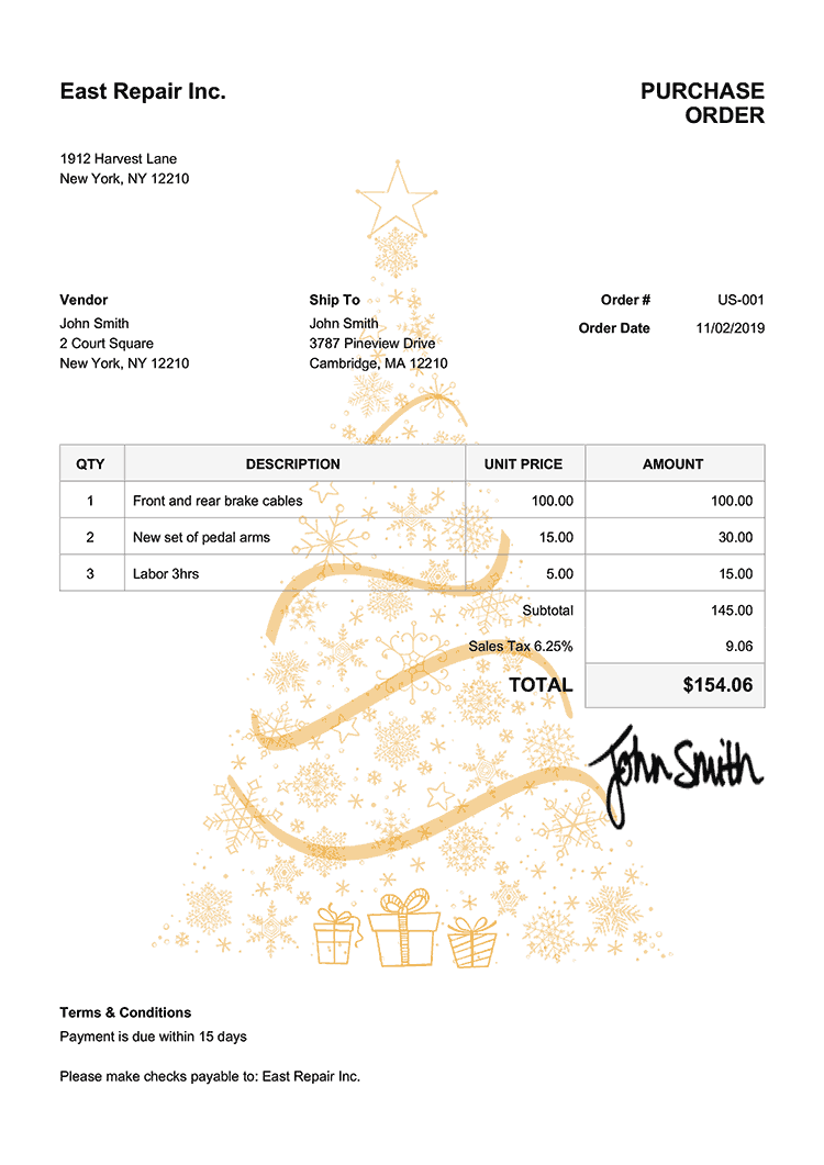 Purchase Order Template Us Christmas Tree Yellow