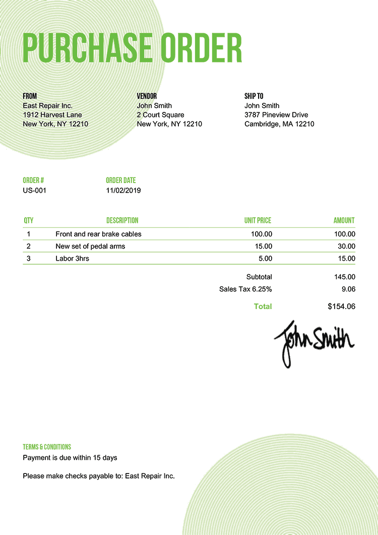 Purchase Order Template Us Circles Green