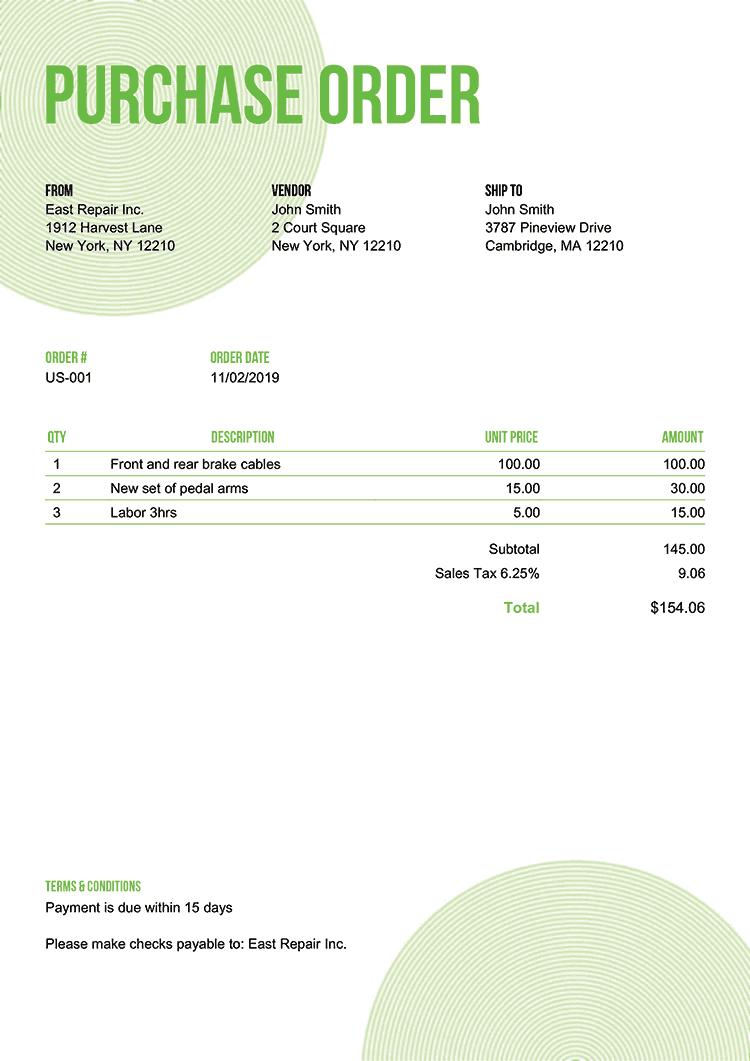 Purchase Order Template Us Circles Green No Logo