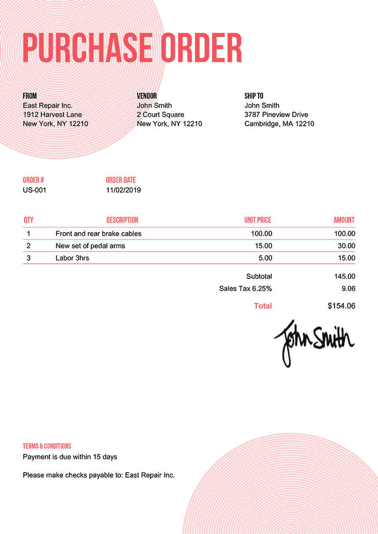 Purchase Order Template Us Circles Pink