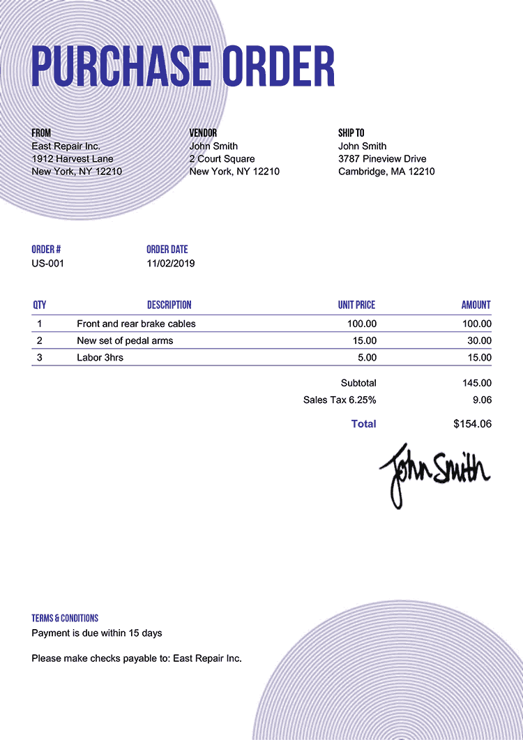 Purchase Order Template Us Circles Purple