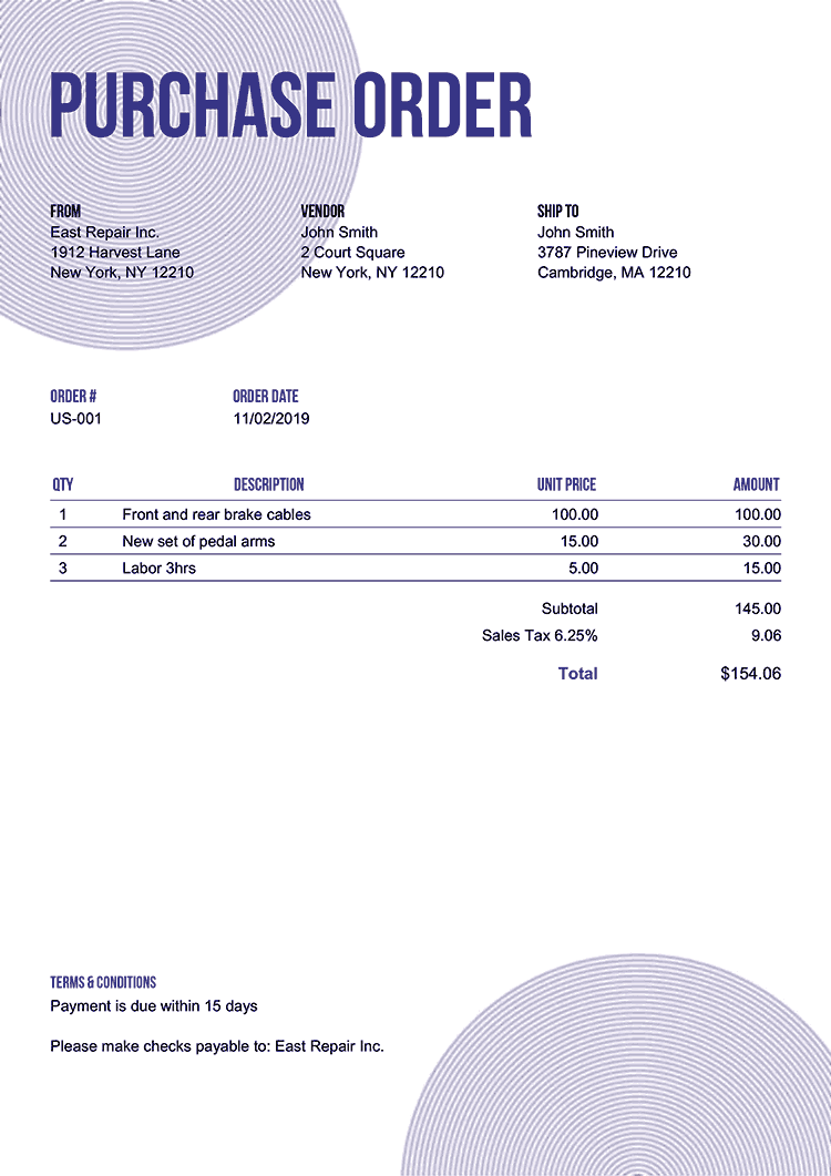 Purchase Order Template Us Circles Purple No Logo