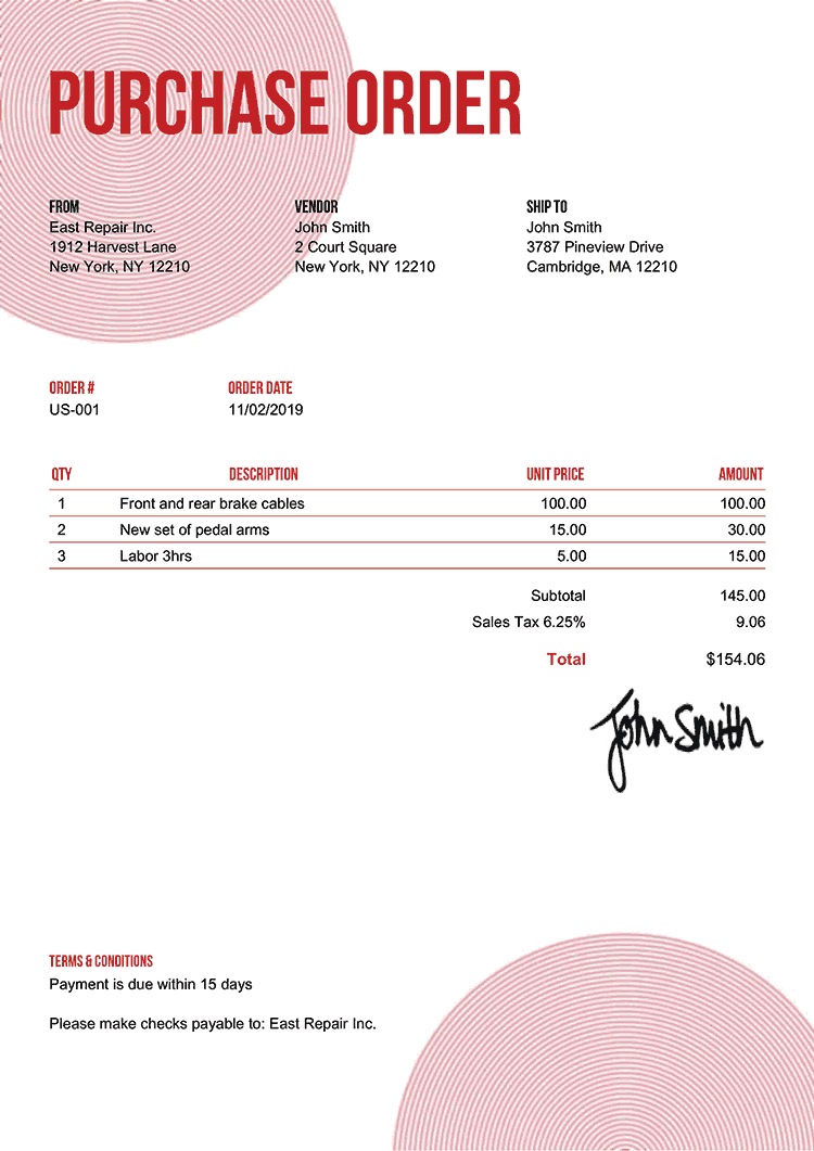 Purchase Order Template Us Circles Red