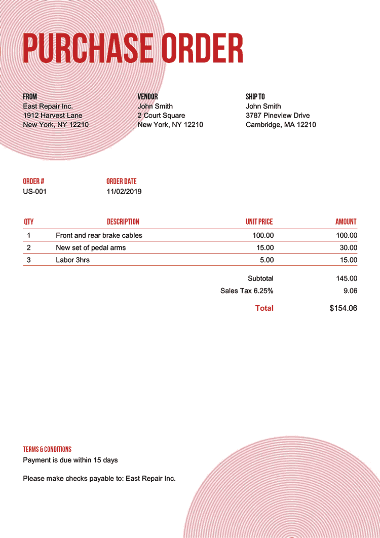 Purchase Order Template Us Circles Red No Logo