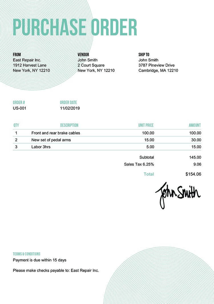 Purchase Order Template Us Circles Turquoise
