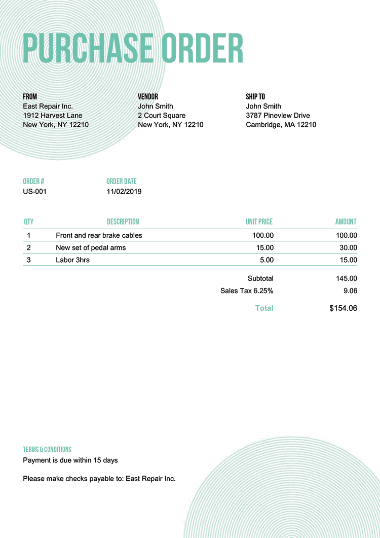 Purchase Order Template Us Circles Turquoise No Logo