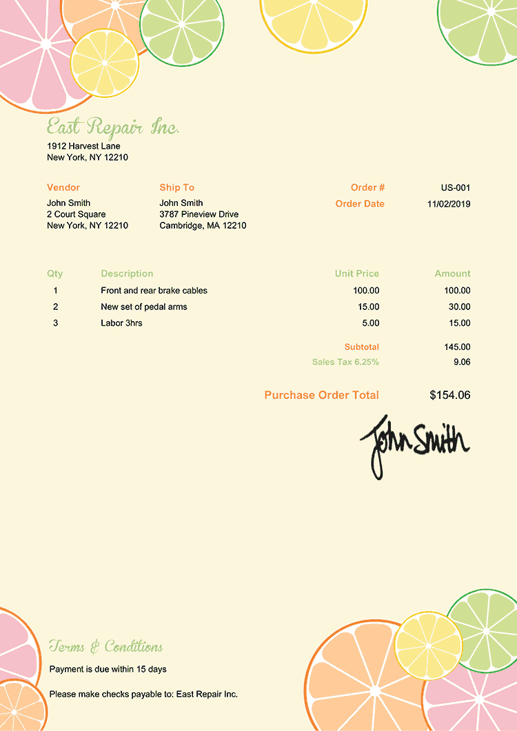 Purchase Order Template Us Citrus