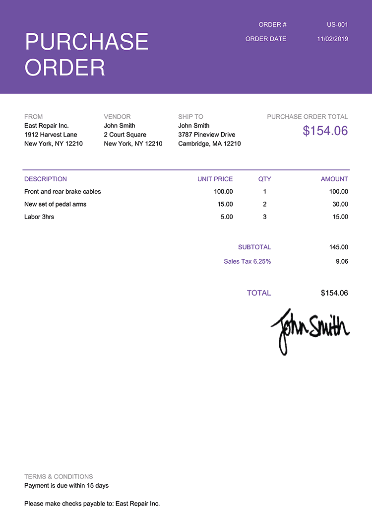 Purchase Order Template Us Contemporary Purple