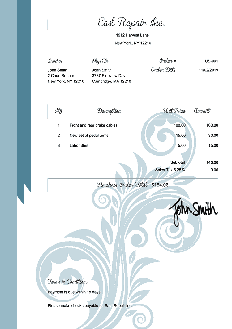 Purchase Order Template Us Elegance Blue
