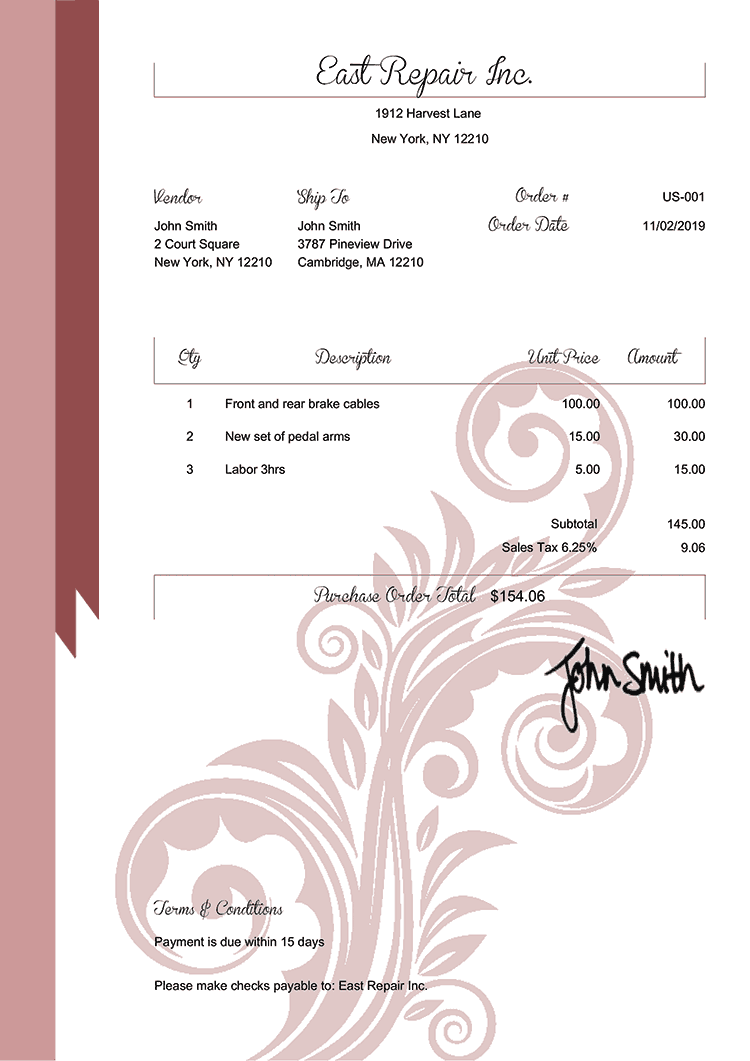 Purchase Order Template Us Elegance Red