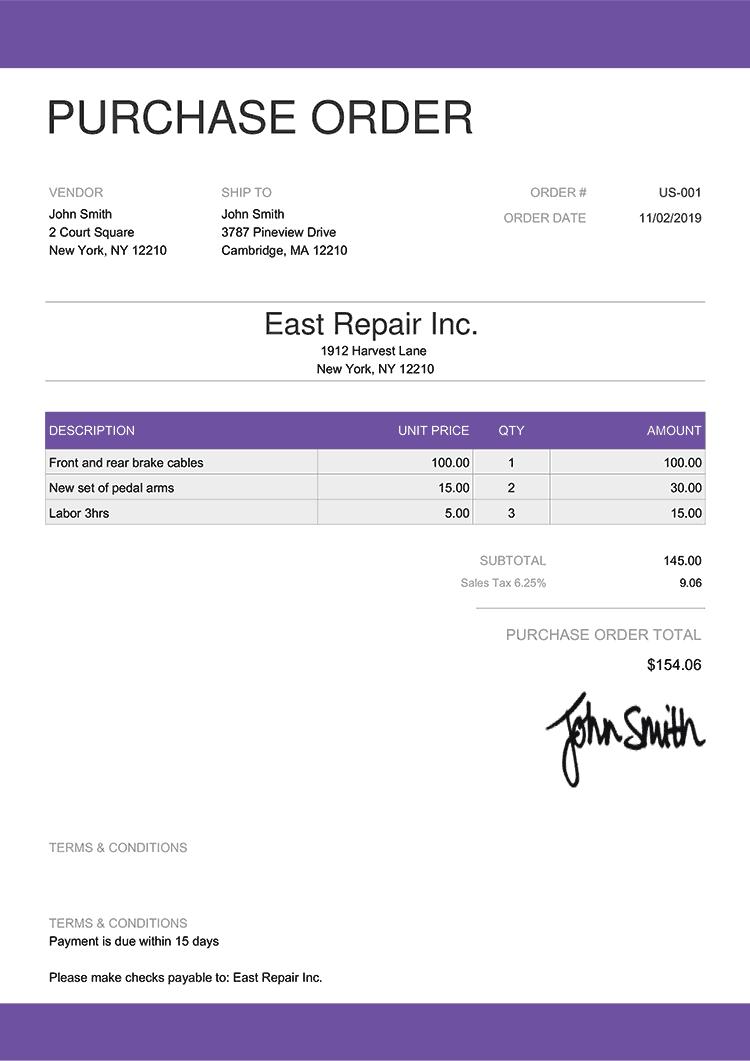 Purchase Order Template Us Enterprise Purple