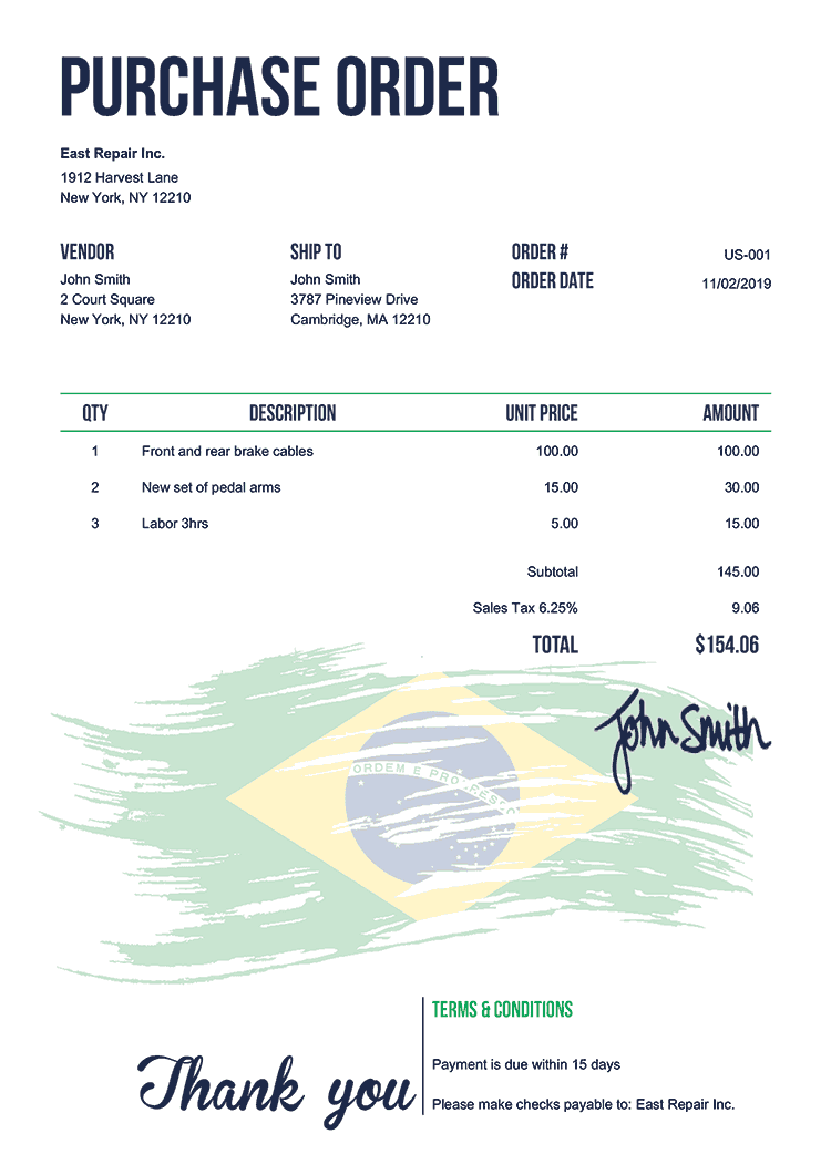 Purchase Order Template Us Flag Of Brazil