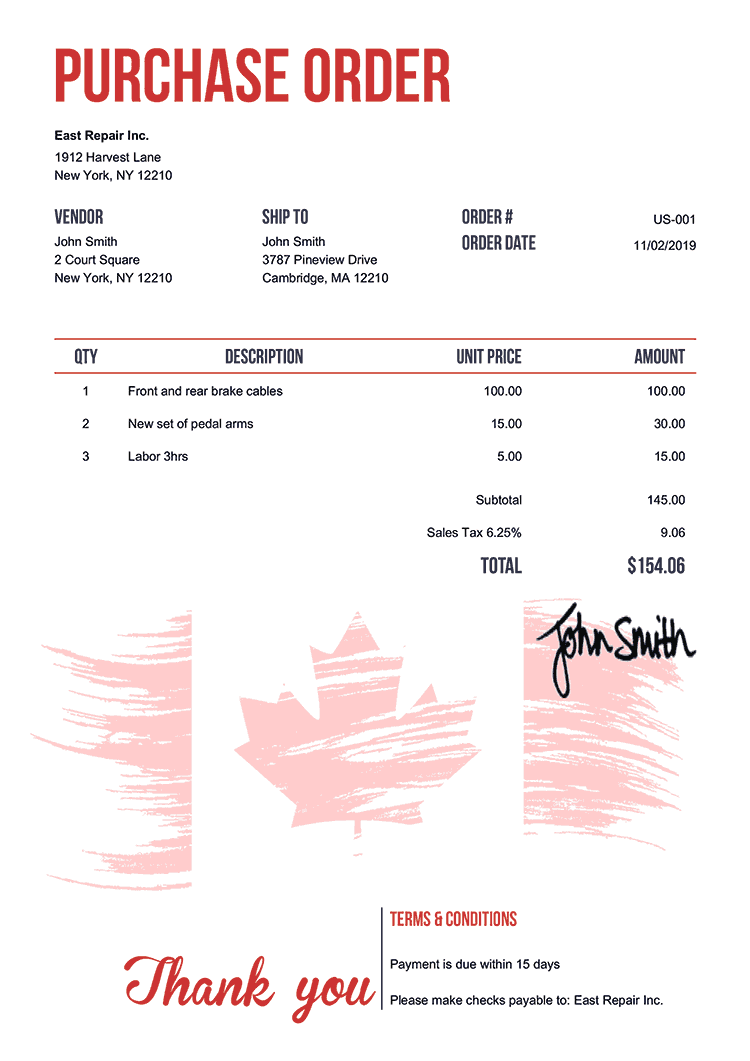 Purchase Order Template Us Flag Of Canada