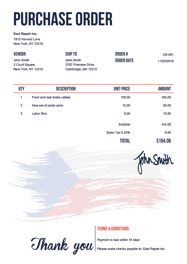 Purchase Order Template Us Flag Of Czechia