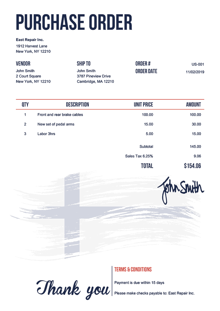 Purchase Order Template Us Flag Of Finland