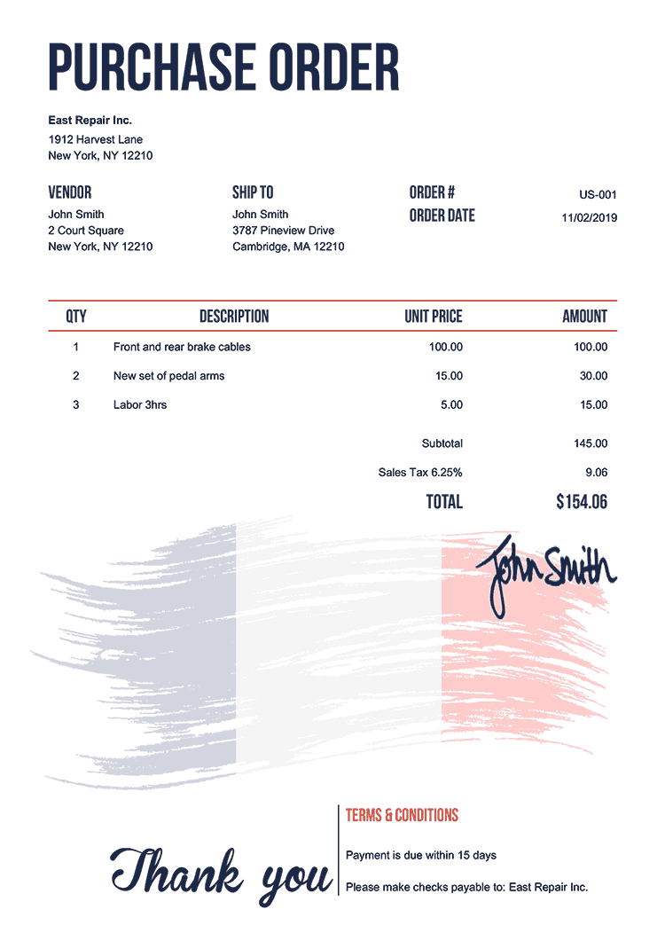 Purchase Order Template Us Flag Of France