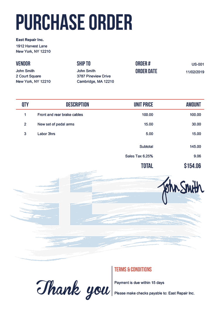 Purchase Order Template Us Flag Of Greece
