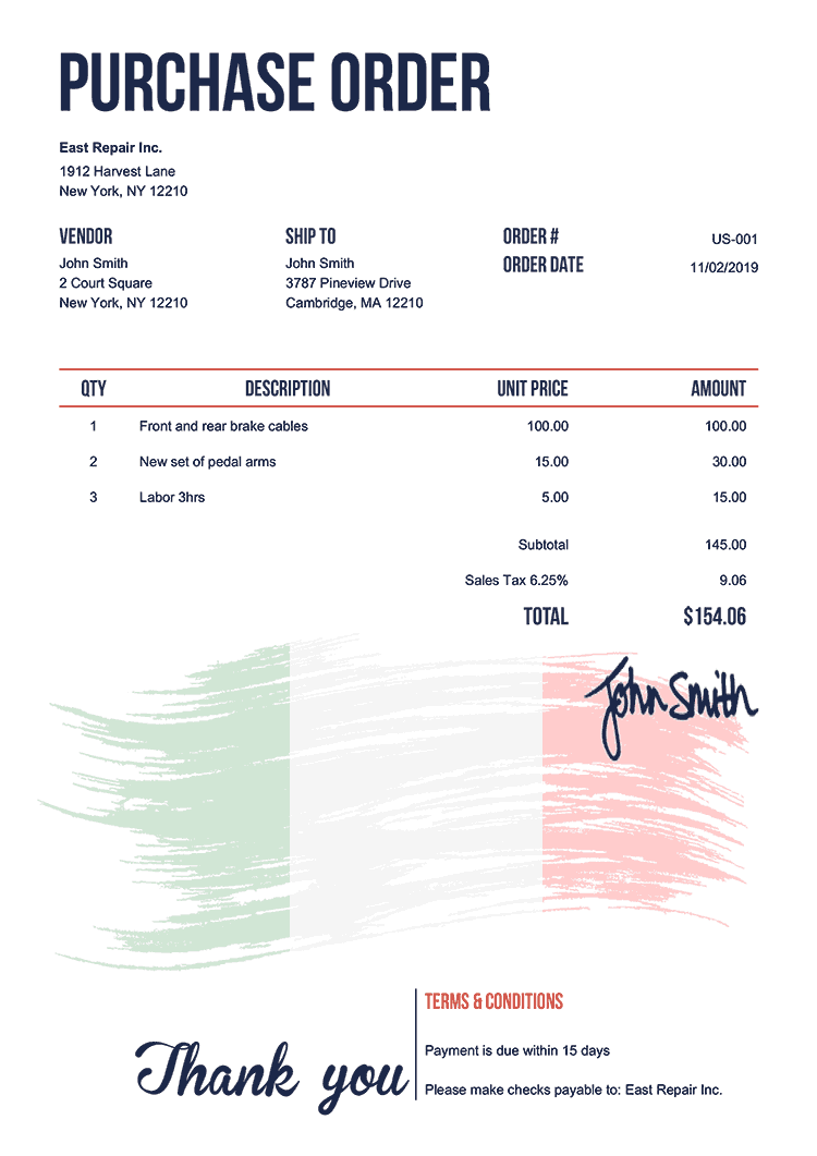 Purchase Order Template Us Flag Of Italy