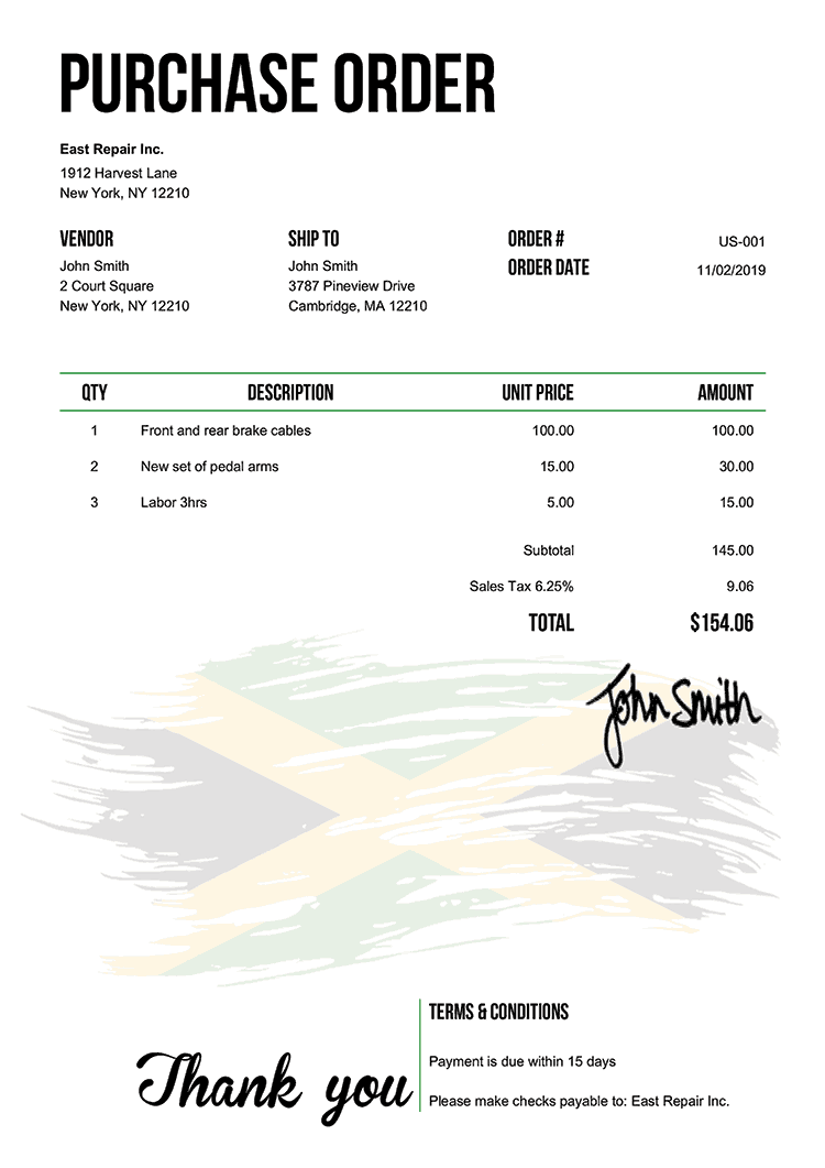 Purchase Order Template Us Flag Of Jamaica