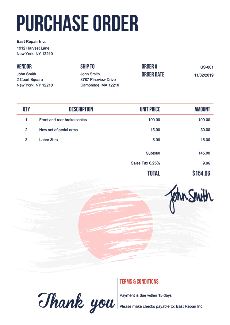 Purchase Order Template Us Flag Of Japan