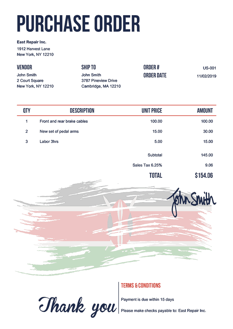 Purchase Order Template Us Flag Of Kenya