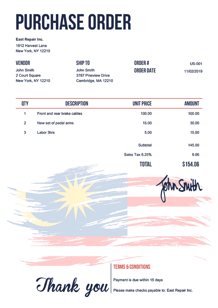 Purchase Order Template Us Flag Of Malaysia