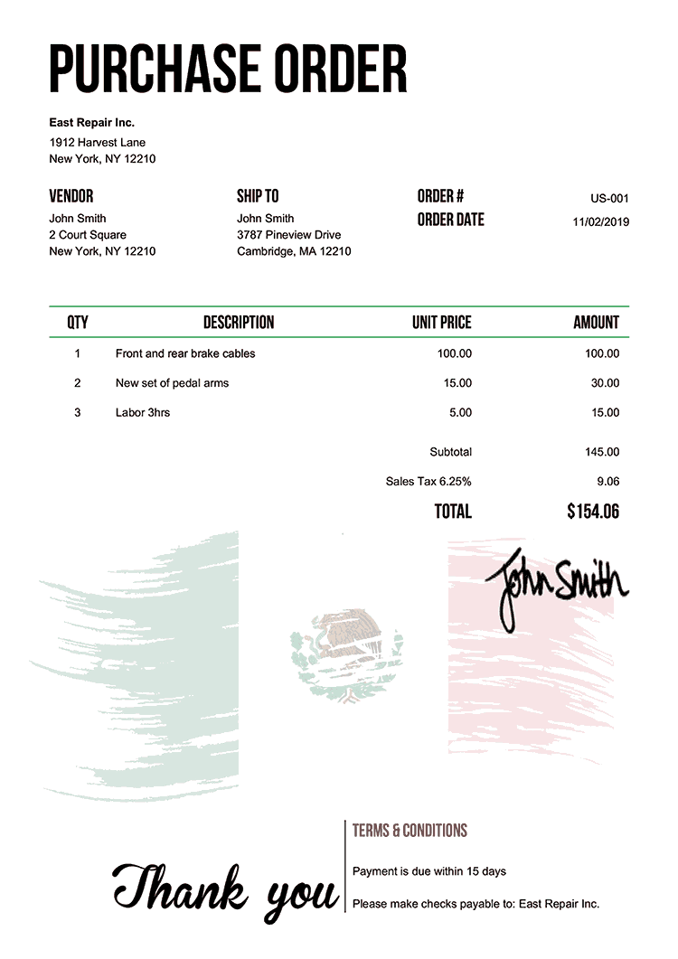 Purchase Order Template Us Flag Of Mexico