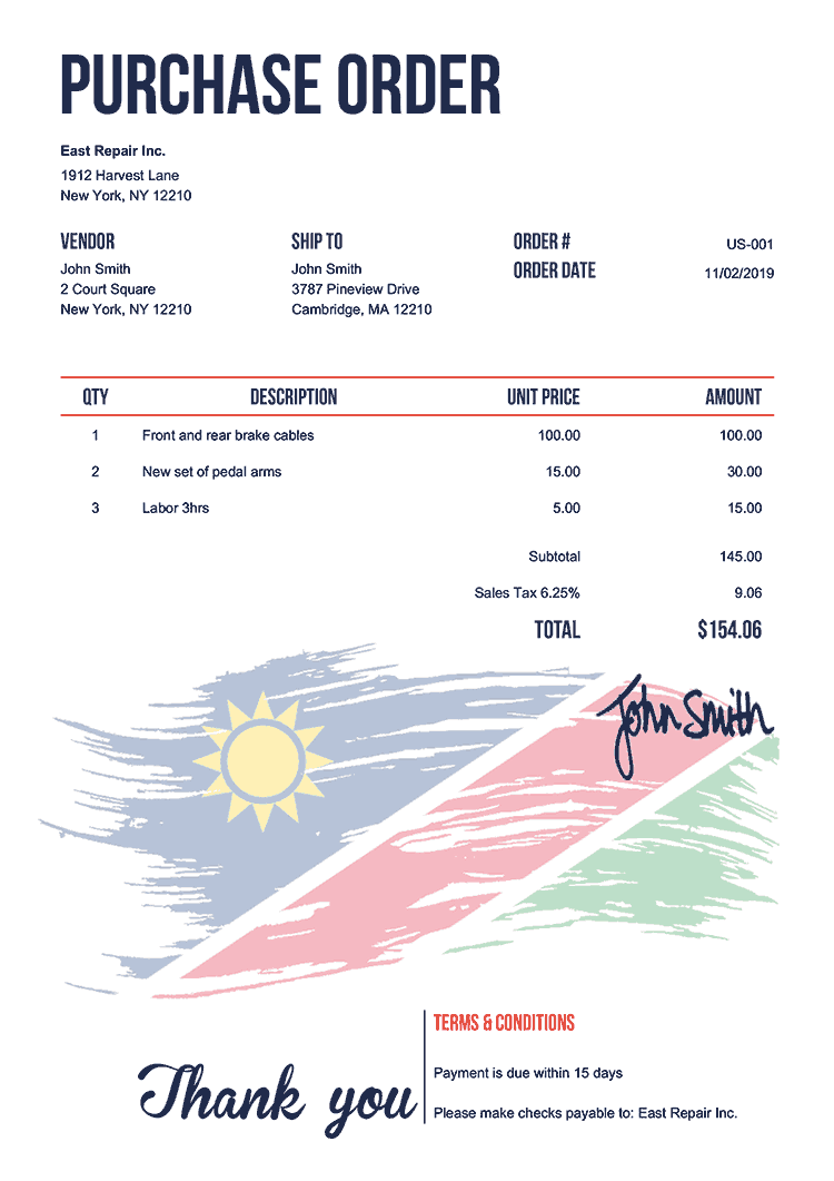 Purchase Order Template Us Flag Of Namibia
