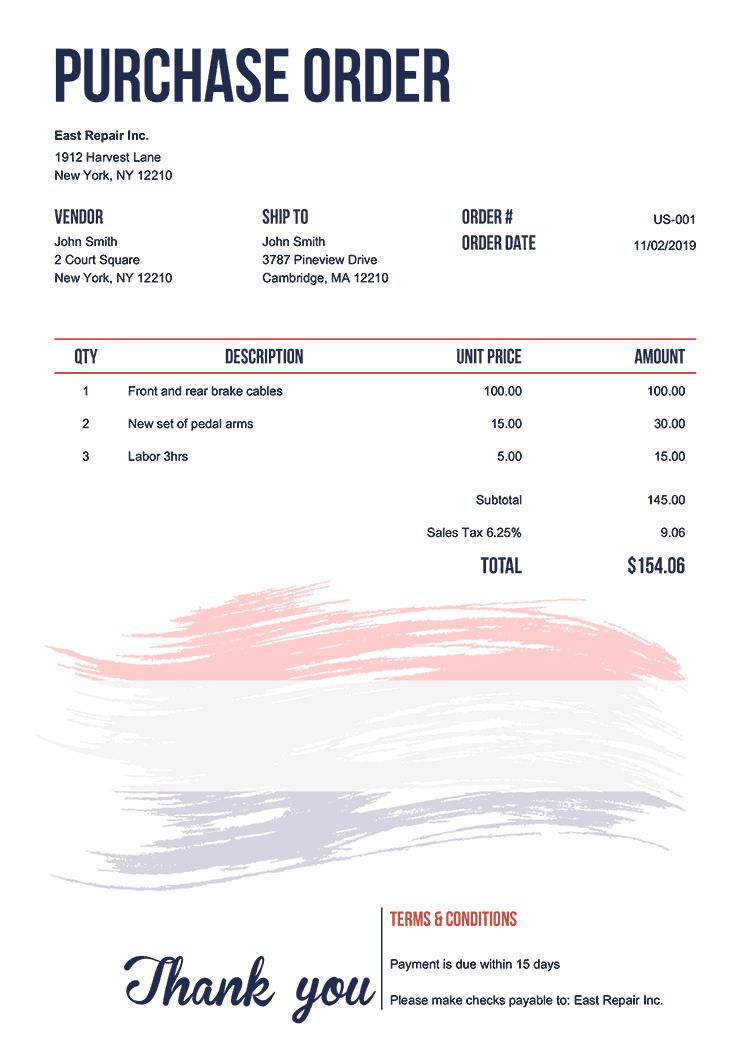 Purchase Order Template Us Flag Of Netherland