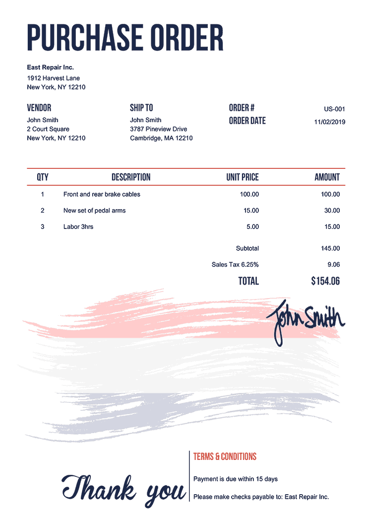 Purchase Order Template Us Flag Of Netherlands