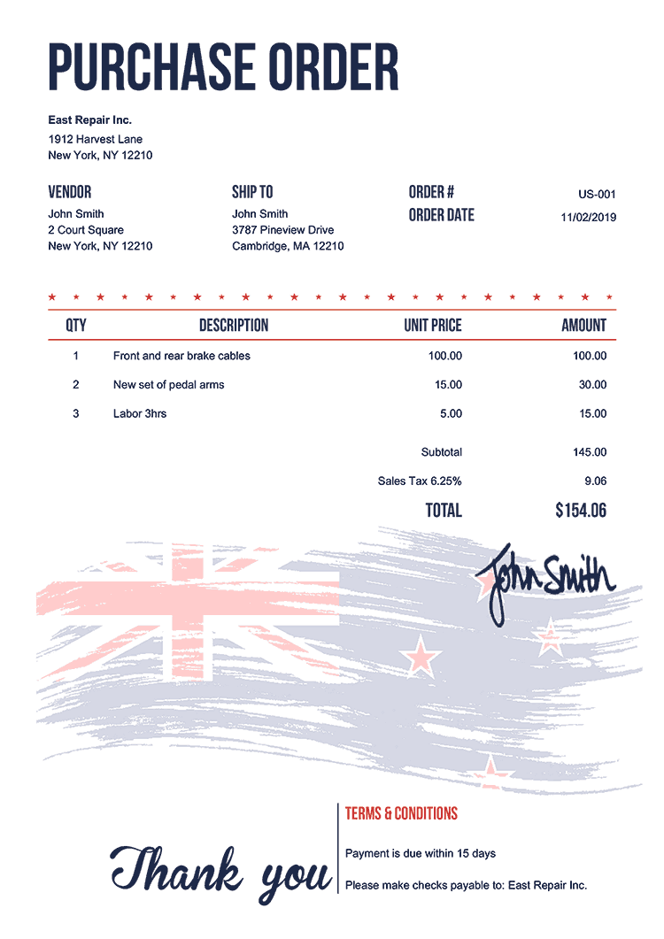 Purchase Order Template Us Flag Of New Zealand