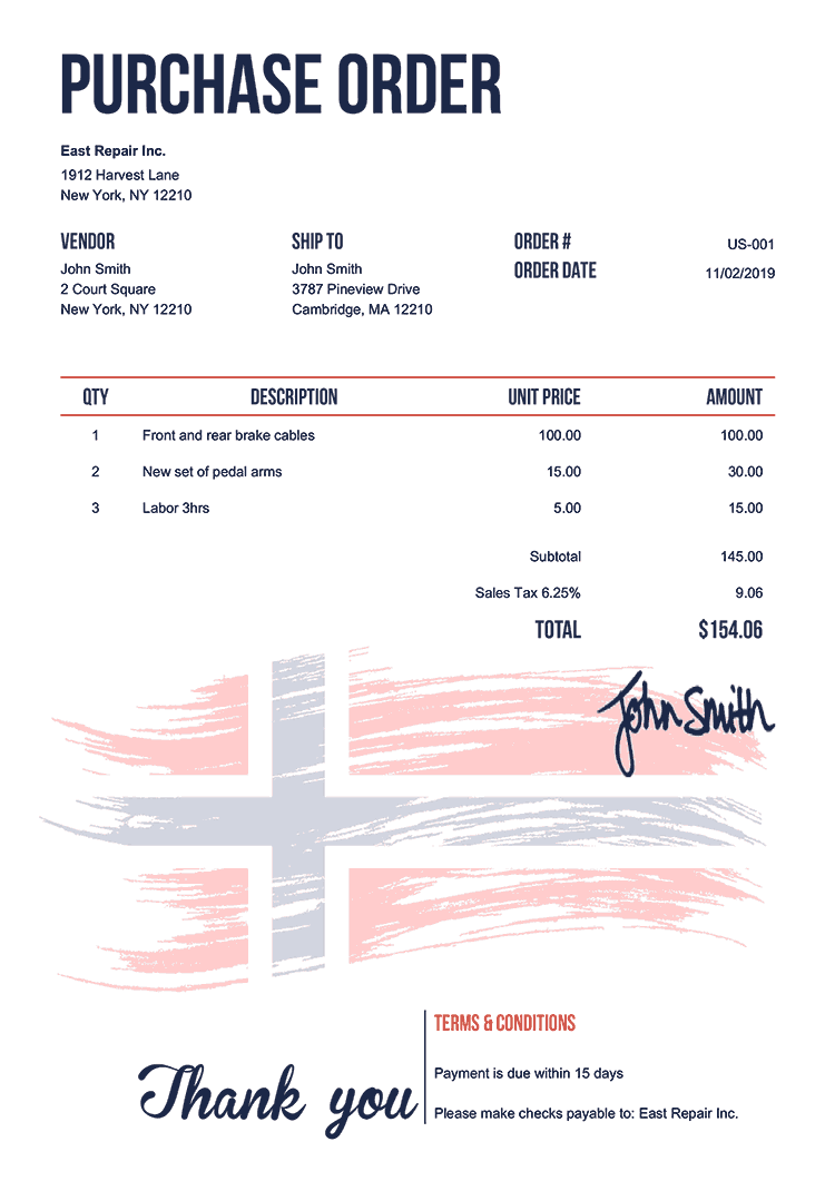 Purchase Order Template Us Flag Of Norway